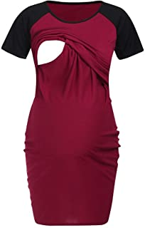 351564b2164bc Women Short Sleeve Maternity Nursing Tops Casual Shirts for Breastfeeding