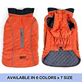 FOREYY Reflective Dog Coats with Leash Harness Attachment Hole, Winter Vest Jackets for Small Medium Large Dogs Windproof Snowsuit Cold Weather Pet Apparel Clothes Sweaters(Orange,XXXL)