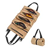 Organizador de herramientas de lona resistente con 5 bolsillos con cremallera, bolsa enrollable para electricista, aire acondicionado, fontanero, carpintero o mecánico(Caqui)