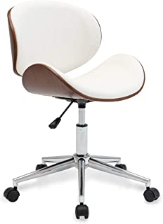 white wood swivel office chair
