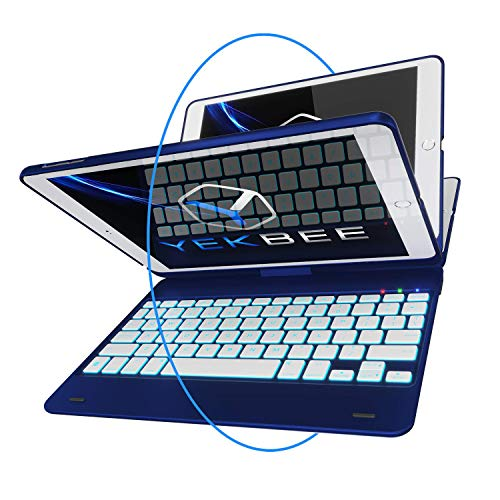 iPad Keyboard Case for iPad 2018 (6th Gen) - iPad 2017 (5th Gen) - iPad Pro 9.7 - iPad Air 2 & 1 - Thin & Light - 360 Rotatable - Wireless/BT - Backlit 10 Color - iPad Case with Keyboard (Blue)