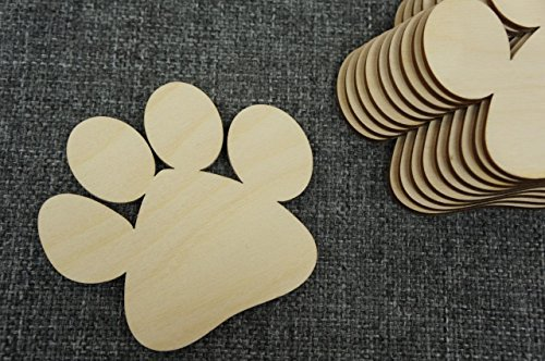 WoMa Kreativ 10x XL Hundepfote Tiere Form Holz Basteln Bemalen Dekoration Hund Dog
