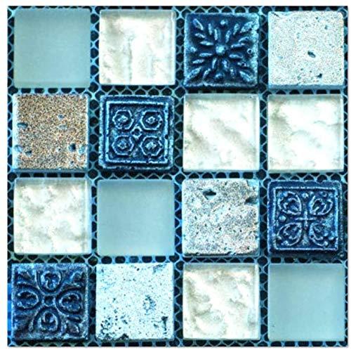 JQDZX Baldosas Pegatinas Adhesivos, Mosaico 3D de cocina autoadhesivo Azulejos de gel, 20pcs PVC Stickers papel pintado resistentes al agua y aceite, para Baño y Cocina Collage (Crystal film,A)