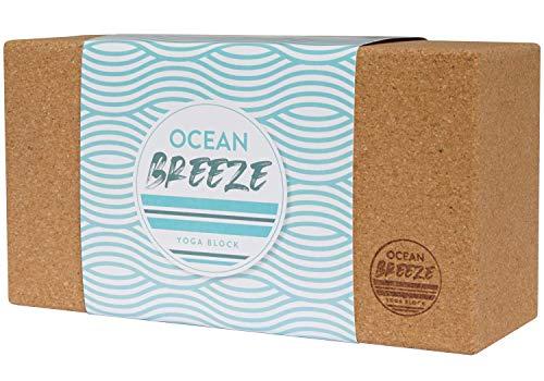 OCEAN BREEZE Yogablock Kork - ökologischer nachhaltiger Yogaklotz aus 100% Naturkork, Yoga Block rutschfest, vegan, umweltfreundlich für Pilates, Anfänger und Fortgeschrittene Korkblock mit Anleitung