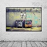 HSFFBHFBH Banksy Graffiti Art Canvas Painting Posters e Impresiones Life Is Short Chill The Duck out Arte de Lienzo de Pared Decoración para el hogar 40x55cm Marco Interior