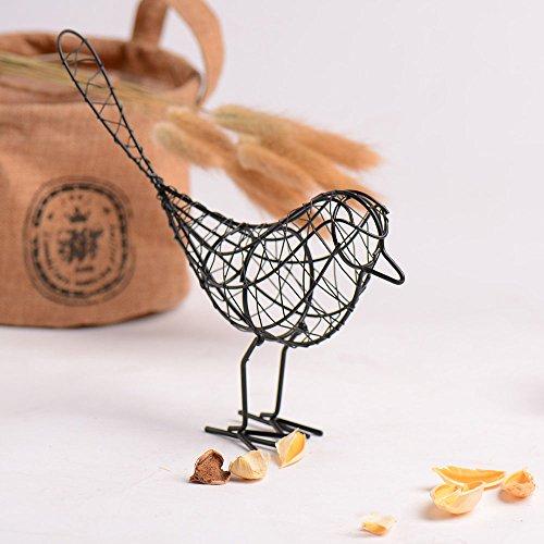 Gogogo Objets de décoration, 1Pcs Oiseau Sculpture en Métal Fer Artisanat Décoration Maison Ameublement Ornements,21.5 * 5.5 * 19 cm - Noir