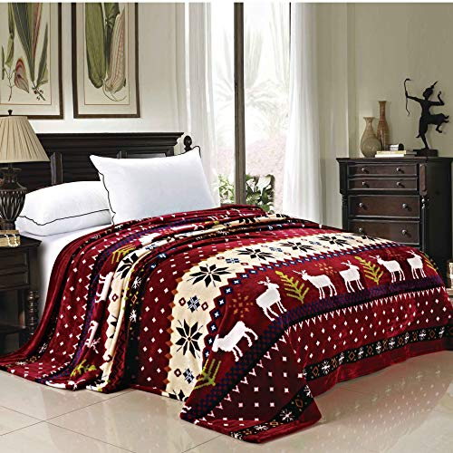 Home Soft Things Light Weight Christmas Collection Flannel Fleece Blanket, Twin, Burgundy Christmas Deer