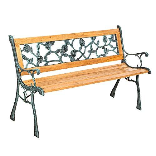 LD tuinbank parkeerbank zitbank tuinmeubelen houten bank gietijzer hardhout rozen
