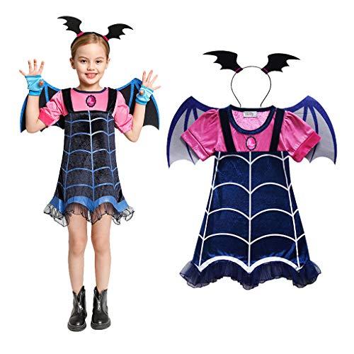 Amycute - Disfraz de vampiro para disfraz de vampiro, diadema + alas para cosplay, vestido de fiesta de Halloween, Navidad, carnaval para nios y nias (120 cm)