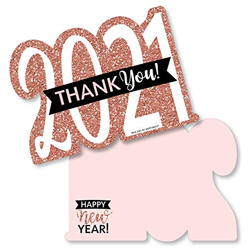 Big Dot of Happiness Rose Gold Happy New Year - Shaped Thank You Cards - 2021 New Year's Eve Party Thank You Note Cards with Envelopes - Set of 12