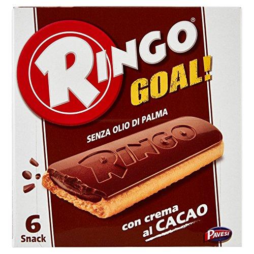 Pavesi Ringo Goal Biscotto con Ripieno di Crema al Cacao e Copertura di Cioccolato, Snack Dolce e Gustoso per la Merenda, Senza Olio di Palma - Confezione da 6 X 28g