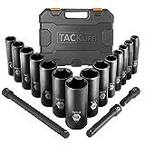TACKLIFE Impact Socket Set 1/2-inch Drive SAE, 17pcs Drive Deep Impact Socket Set, 6 Point, 3/8-1-1/4 inch, 14pcs Inch Sockets with 3pcs 1/2-Inch Drive Impact Extension Bar Set - HIS2A