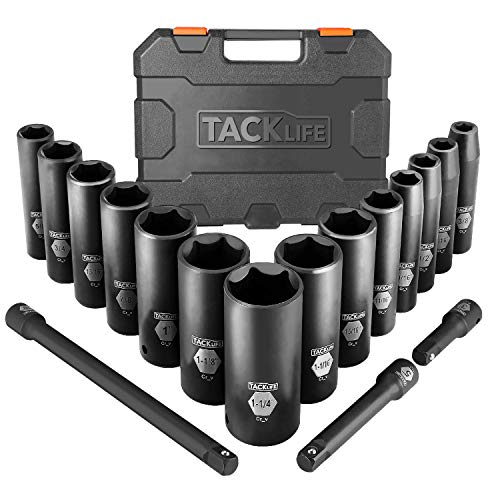 TACKLIFE Impact Socket Set 1/2-inch Drive SAE, 17pcs Drive Deep Impact Socket Set, 6 Point, 3/8-1-1/4 inch, 14pcs Inch Sockets with 3pcs 1/2-Inch Drive Impact Extension Bar Set - HIS2A