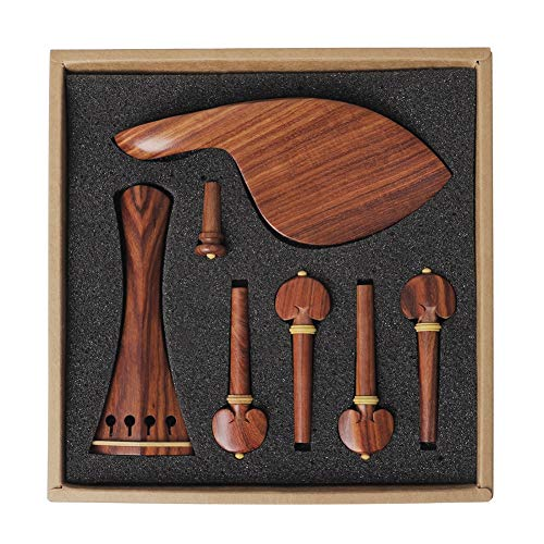 Set Di Accessori Per Violino 4/4, In Mogano Naturale, Set Di Accessori Per Mentoniera, Poggia Cordiera, Marrone