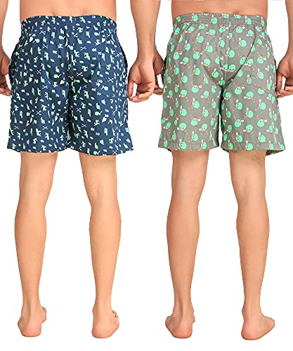 UZARUS Men's Printed Boxer Shorts 100% Cotton, Green & Grey, Large