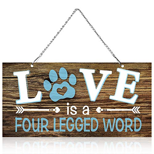 Love is a Four Legged Word Pet Paw Metal Hanging Vintage Decorative Signs Plaque Wall Decorative Sign for Dog Lover (10 x 5 Inch)