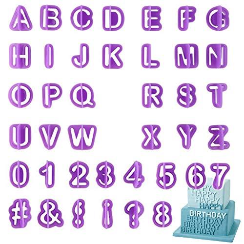 Lettere Stampini Biscotti, Set di 40 Pezzi Stampini con Lettere in Plastificata, Alfabeto Biscotto Numero di Taglierina e Punteggiatura Cutter - Sciroppo decorato Biscotti torta sciroppo e fondente