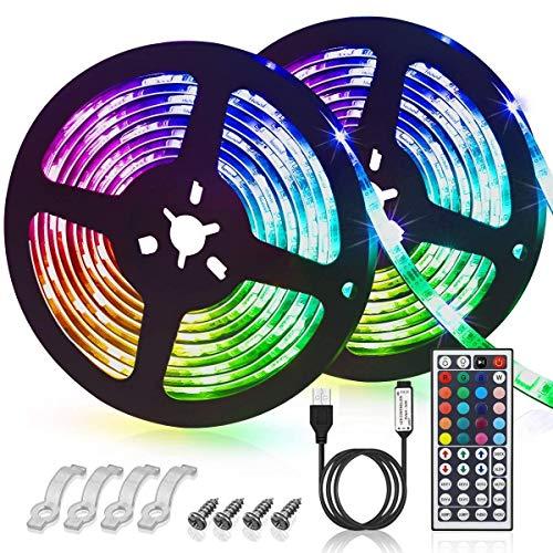H/A CAXVYK - Tira de LED USB (6 m, 180 LED, impermeable, 20 multicolor, 5050 RGB, 44 teclas, mando a distancia, decoración navideña para el hogar, cocina, fiesta, Navidad, 2 x 3 m), color CAXVYK