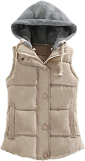 Women's Casual Warm Sleeveless Coat Full Zipper Slim Lightweight Quilted Hooded Winter Vest