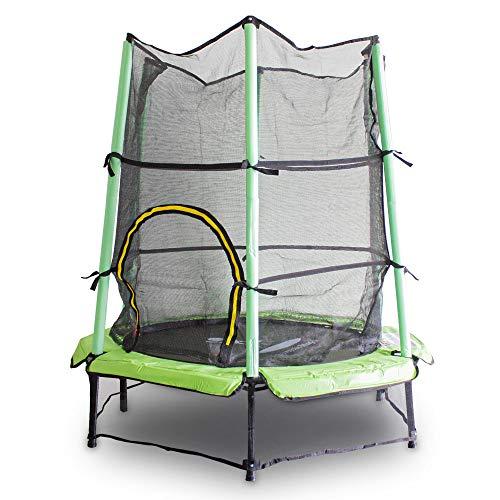 MS Point Kindertrampolin Gartentrampolin 140 cm Fitness Trampolin Komplettset für Indoor und Outdoor (Hellgrün)