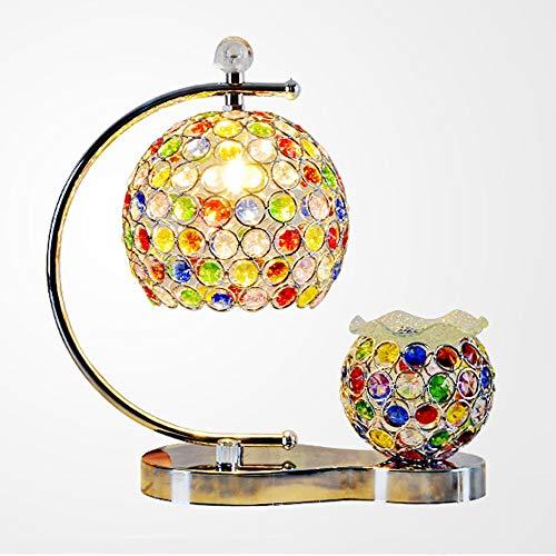 Wotbxchbbtde Lámpara de mesa de aceite esencial de aromaterapia, lámpara de mesa bohemia, lámpara de mesa de cristal de color del sudeste asiático, luces de cuidado ocular for leer, relajarse for dorm