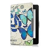 kwmobile Amazon Kindle Paperwhite Hülle - Kunstleder eReader Schutzhülle Cover Case für Amazon Kindle Paperwhite (für Modelle bis 2017) - Schmetterlinge Vintage Design Blau Mintgrün Beige