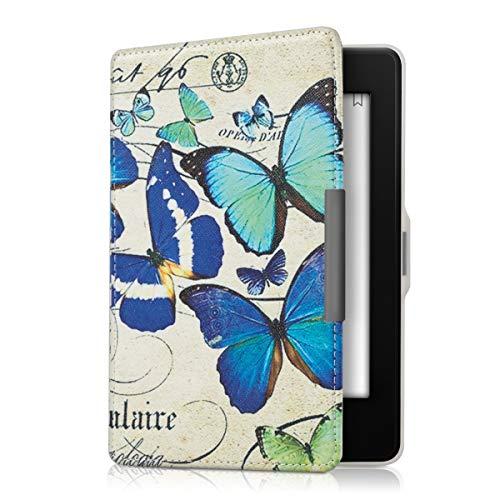kwmobile Klapphülle kompatibel mit Amazon Kindle Paperwhite - Hülle eReader (für Modelle bis 2017) - Schmetterlinge Vintage Blau Mintgrün Beige