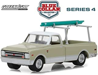 1970 Chevy C-10 with Ladder Rack, Cream - Greenlight 35100B/48 - 1/64 Scale Diecast Model Toy Car