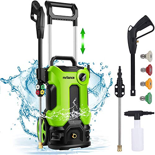 mrliance Electric Pressure Washer, 3800PSI 2.8GPM Power Washer, 1800W High Pressure Washer Cleaner with Spray Gun 4 nozzles Ideal for Cars Fences Patios Garden Cleaning (Green)