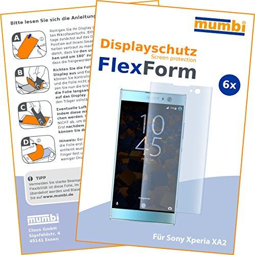 mumbi Flex Schutzfolie kompatibel mit Sony Xperia XA2 Folie, Bildschirmschutzfolie (6X)