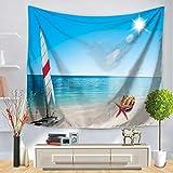 JXGG Sol Mar Tapiz Océano Estilo mediterráneo Playa Colgante de Pared Paisaje de Agua Decoración de Playa Nubes Blancas Cielo Azul Manta 150x130cm