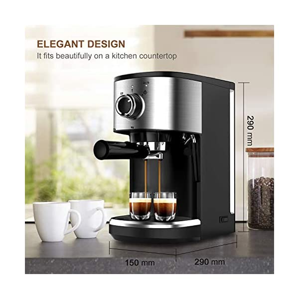 Bonsenkitchen Cafetera Espresso, Máquina de Café Espresso de Acero Inoxidable,