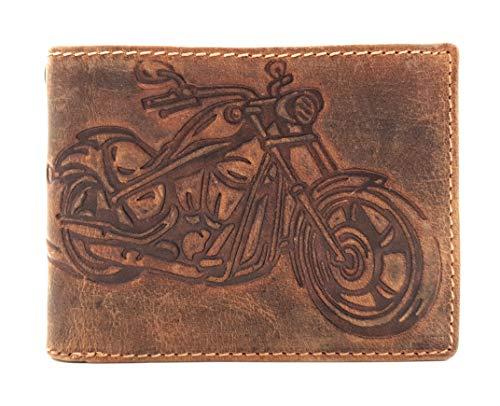 echt Leder Biker Geldbörse quer Hunterleder Portemonnaie Motorrad mit RFID Schutz