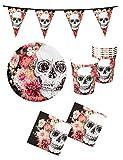 Karneval-Klamotten Halloween Tischdeko Party Set XXL Totenkopf Horror Partygeschirr 24 Teile Teller Becher Servietten Girlande La Catrina Tag der Toten