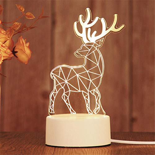 Stecker Modelle 3D Nachtlicht Geburtstagsgeschenk Quallenlampe führte dekorative Tischlampe Flutlicht Schlafzimmer Nachttischlampe Paar Geschenk-Sika rotwild