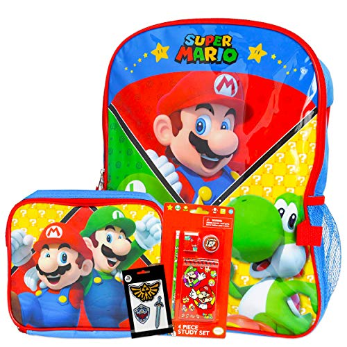 Super Mario Backpack and Lunch Box Set for Boys Girls Kids ~ Deluxe 16' Mario Backpack with Detachable Insulated Lunch Bag, Study Kit, and Patches (Mario School Supplies Bundle)