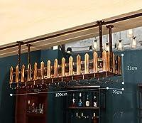 ワインラック ワインラック/バー天井ワインラックガラスホルダーとボトルホルダー調節可能(100cm) カップホルダー