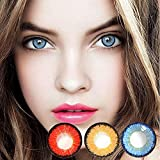 3 Pair Colored Cosmetic Contact Lenses for Women,Colorful Eye Lenses For Cosmetic Girl Beautiful Halloween Cosplay Anime (Blue+Yellow+Red)