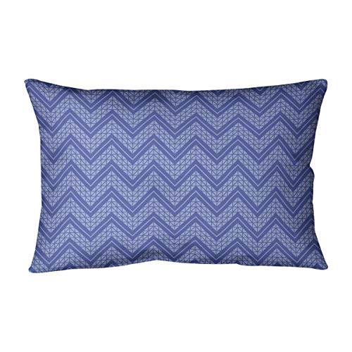 Best Price ArtVerse Rhonda Cheval Monochromatic Hand Drawn Chevron Pattern Pillow (w/Removable Insert) – Cotton Twill, 20 x 14, Blue