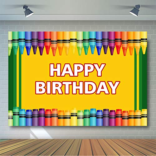 COMOPHOTO 7x5ft Crayon Birthday Party Backdrop Coloring Crayon Birthday Decorations Photography Background Art Party Backdrops Supplies Props