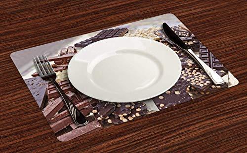 Czekoladowe podkładki na stół jadalny, stos różnych batoników czekoladowych czarno-białe kawałki z orzechami laskowymi, antypoślizgowe odporne na wysoką temperaturę podkładki pod talerz dekoracja na imprezę kuchenną, zestaw 4, ciemnobrązowy brązowy k