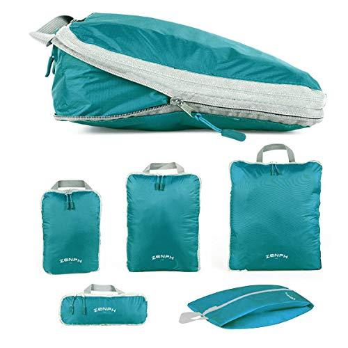 Zenph Organizer Valigie,Set di Borse da Viaggio,Comoda borsa da compressione per il viaggiatore,Ultra leggero e impermeabile,verde, 5 pezzi