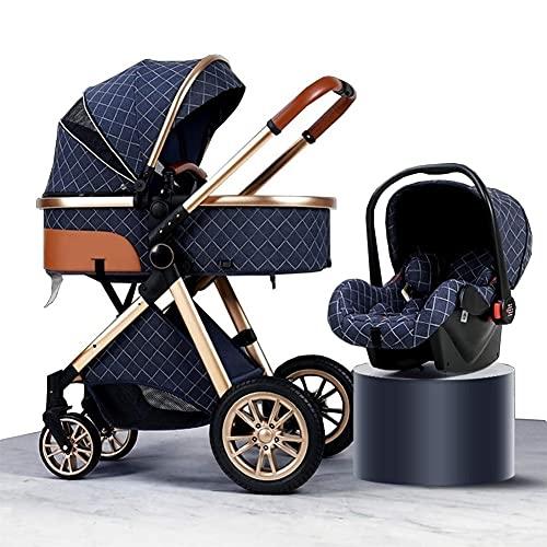 YQL 3 en 1 sistema de viaje cochecito de bebé, alto paisaje anti-choque cochecito de bebé recién nacido con organizador de cochecito, silla de paseo y accesorios (color: marrón) (color: azul)