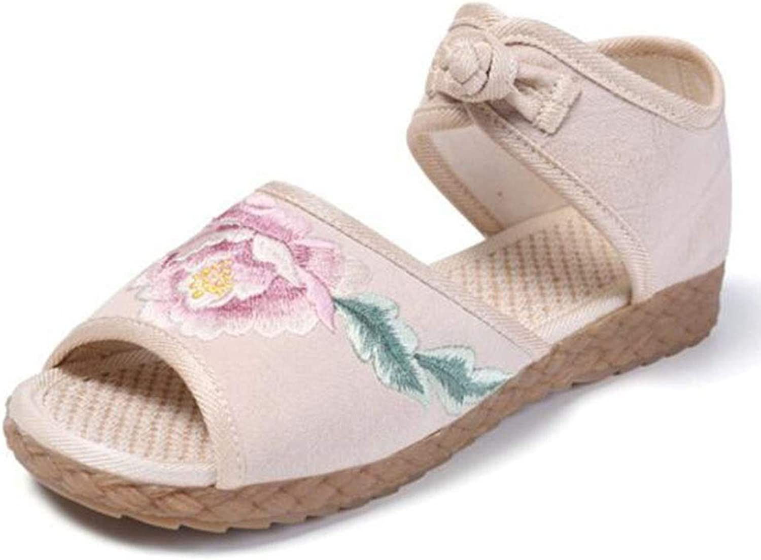 Summer Old Beijing Cloth shoes Fish Mouth Sandals Flat with Buckle National Wind Embroidered Women's shoes (color   Beige, Size   245)