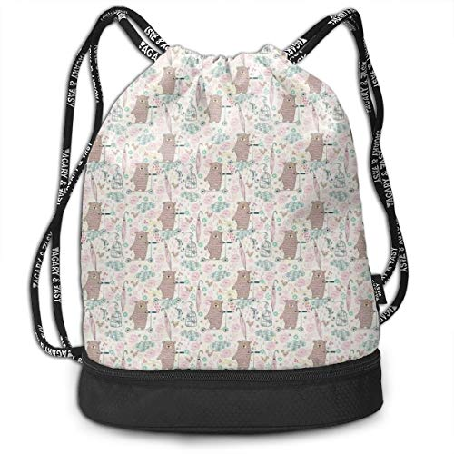 MLNHY Printed Drawstring Backpacks Bags,Cartoon Bear On A Scooter Childish Kids Design Illustration Flowers and Birds,Adjustable String Closure