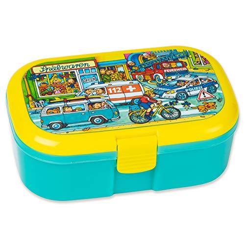 Mauder Verlag Lunchbox Einsatzfahrzeuge Wimmelbild mit herausnehmbaren Obst und Gemüsefach