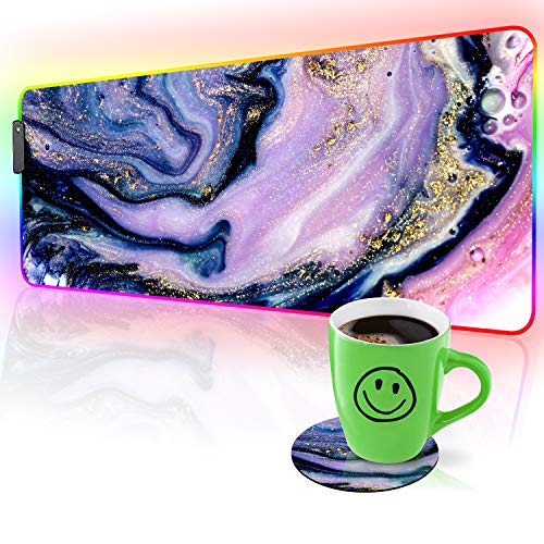 RGB Gaming Mouse Pad and Coffee Coaster,Purple Marble LED Soft Extra Extended Large Mouse Pad, Anti-Slip Rubber Base, Computer Keyboard Mouse Mat - 31.5 X 12 Inch