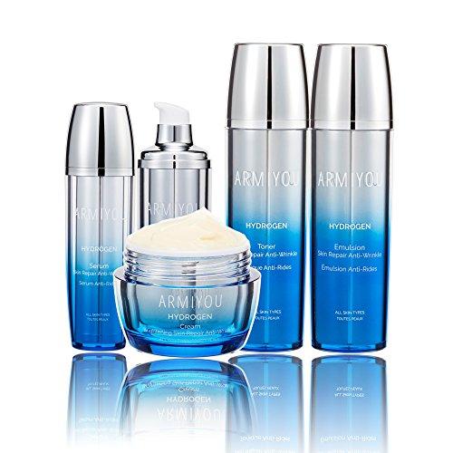 Armiyou K-BEAUTY Skin Care - HYDROGEN Skin Repair Face Moisturizer Toner Lotion Serum Cream Set for Women Men Anti-Wrinkle Anti-Aging Rejuvenation Dry Sensitive KOREAN BEAUTY (4-in-1 Set)