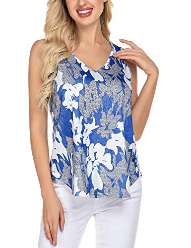 Parabler Damen V Ausschnitt Blumen Sommer Top Ärmellose Blusentop Tank Top Elegant Weste Top Shirt Bluse Oberteile