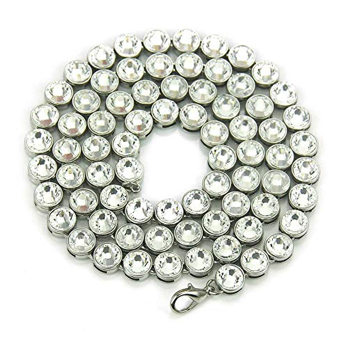 ZHBSS Collar de Hombre Estilo Hip-Hop Europeo y Americano con Grandes Diamantes, Collar Largo de Hombre de Moda y Personalizado. Plata + Diamantes Blancos